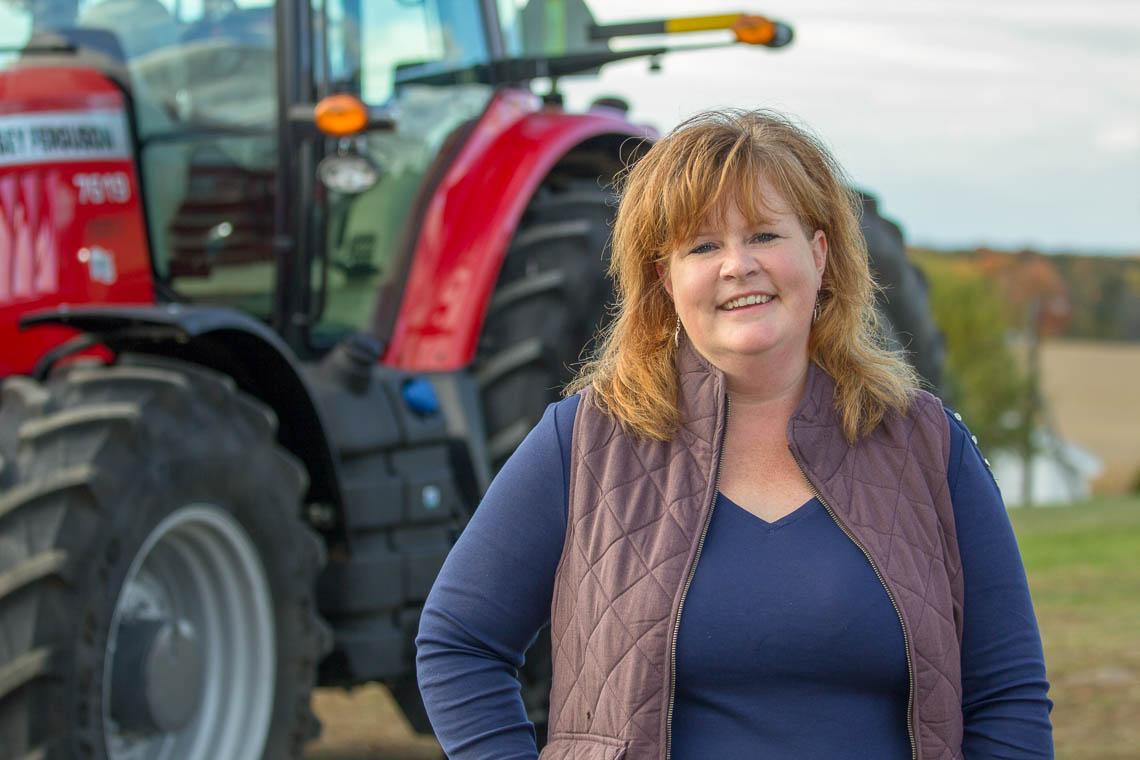 Julie Dawson with tractor